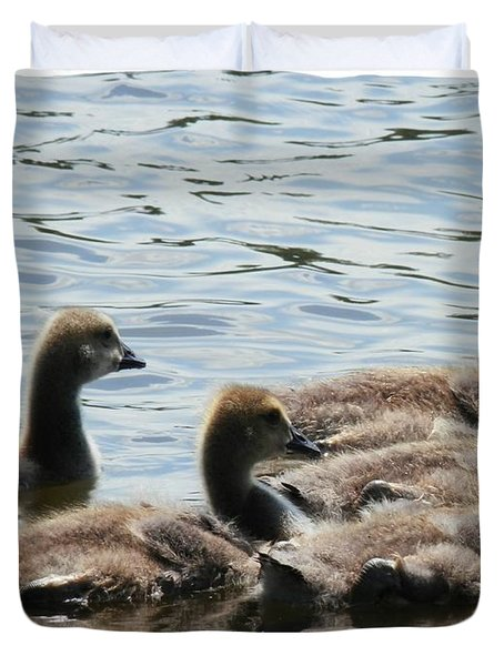 Duck Babies On The Water Duvet Cover