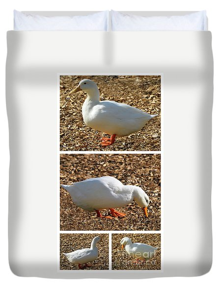 Duvet Cover featuring the mixed media Duck Collage Mixed Media A51517 by Mas Art Studio