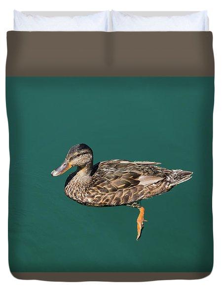 Duvet Cover featuring the photograph Duck Floats by Davor Zerjav