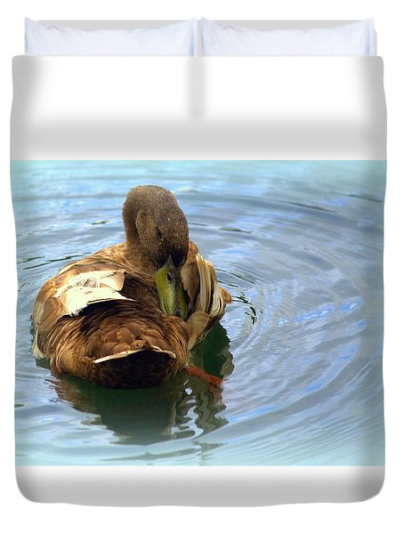Duck Grooming Duvet Cover by Lori Seaman