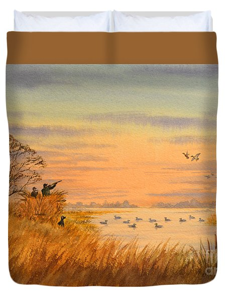 Duck Hunting Calls Duvet Cover by Bill Holkham