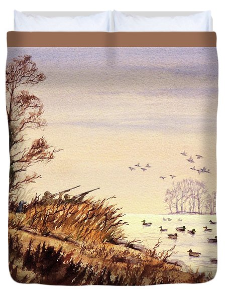 Duck Hunting Times Duvet Cover by Bill Holkham