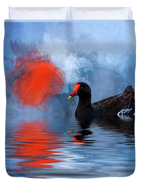 Duck In A Pond Duvet Cover by Cyndy Doty