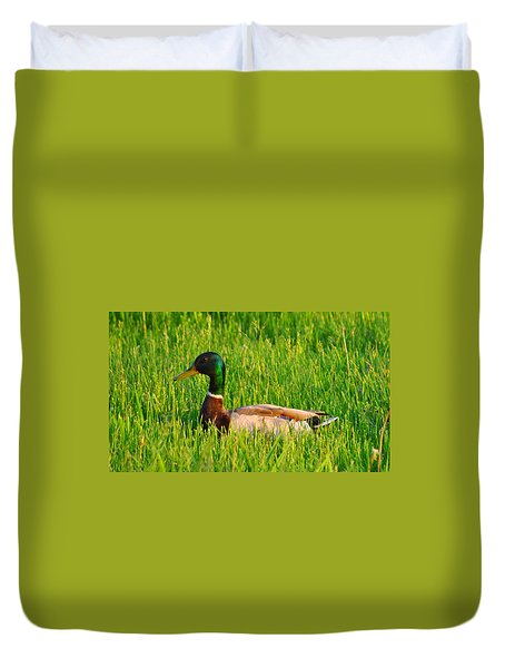 Duck In The Grass Duvet Cover