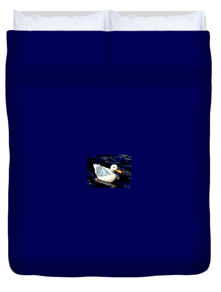 Duck In Water Duvet Cover by Charles Shoup