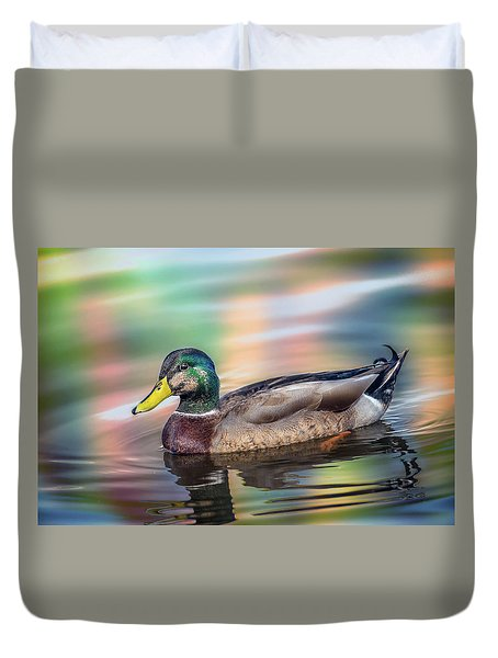 Duck In Water With Autumn Colors Duvet Cover