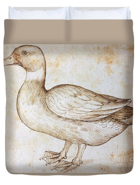Duck Duvet Cover by Leonardo Da Vinci