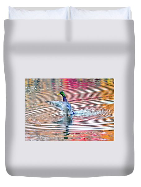 Duck On An Autumn Pond In The Chesapeake Bay Maryland Duvet Cover
