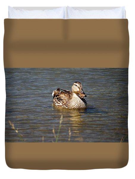 Duck On Lake Duvet Cover