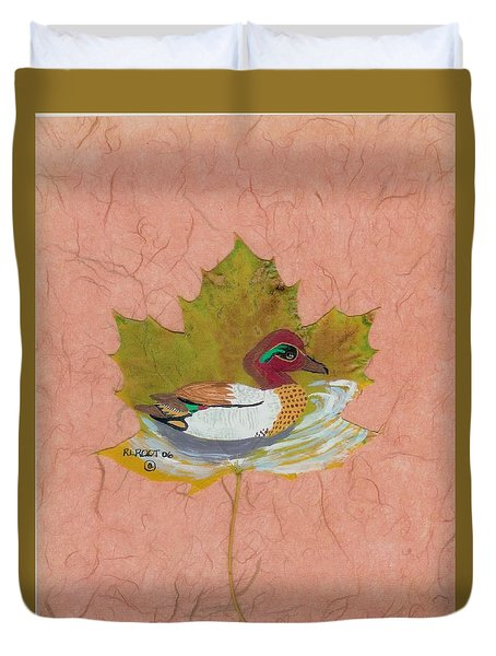 Duck On Pond Duvet Cover by Ralph Root