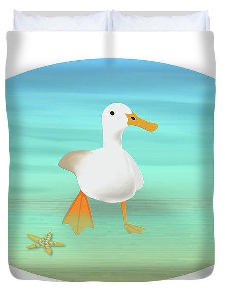Duck Paddling At The Seaside Duvet Cover
