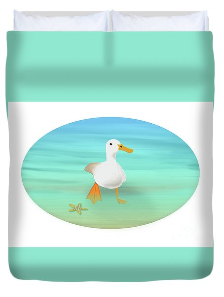 Duck Paddling At The Seaside Duvet Cover