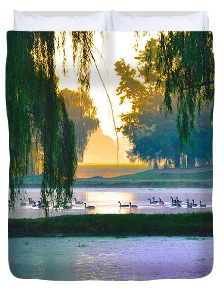 Duck Pond At Dawn Duvet Cover by Bill Cannon