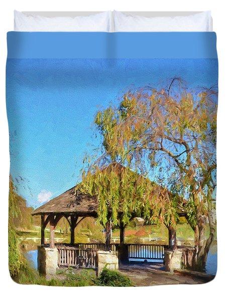 Duck Pond Gazebo At Virginia Tech Duvet Cover by Kerri Farley