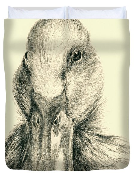 Duck Portrait In Charcoal Duvet Cover