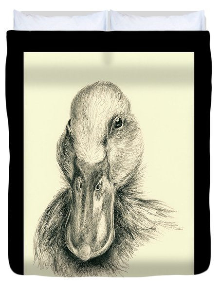 Duck Portrait In Charcoal Duvet Cover