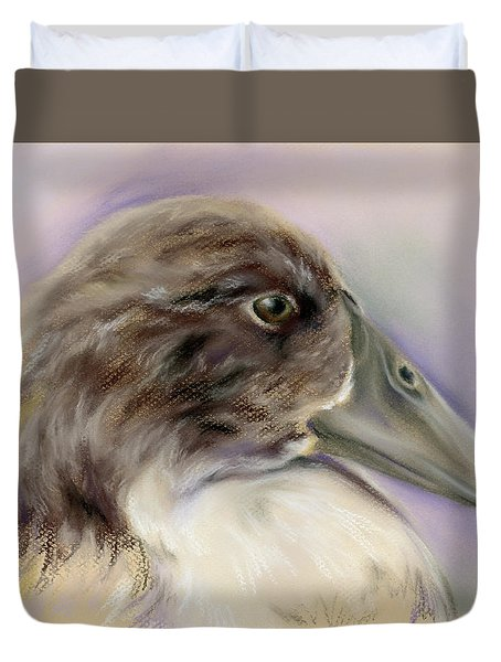 Duck Portrait In Gray And Brown Duvet Cover