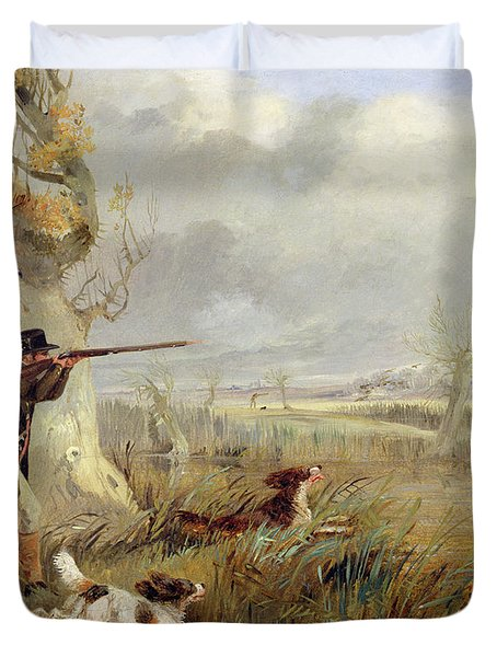 Duck Shooting  Duvet Cover by Henry Thomas Alken