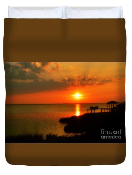 Duck Sunset Outer Banks North Carolina Duvet Cover