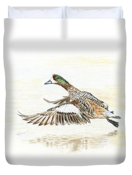 Duvet Cover featuring the painting Duck Taking Off. by Raffaella Lunelli
