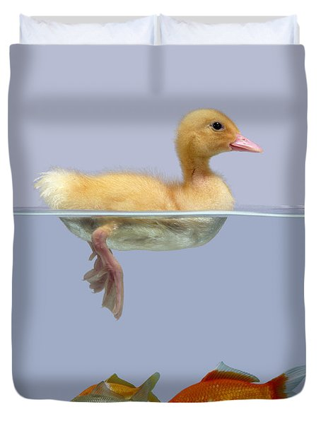 Duckling And Goldfish Duvet Cover by Jane Burton