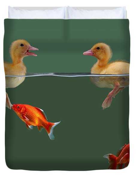Ducklings And Goldfish Duvet Cover by Jane Burton
