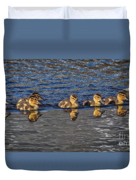 Duvet Cover featuring the photograph Ducklings  by Mitch Shindelbower