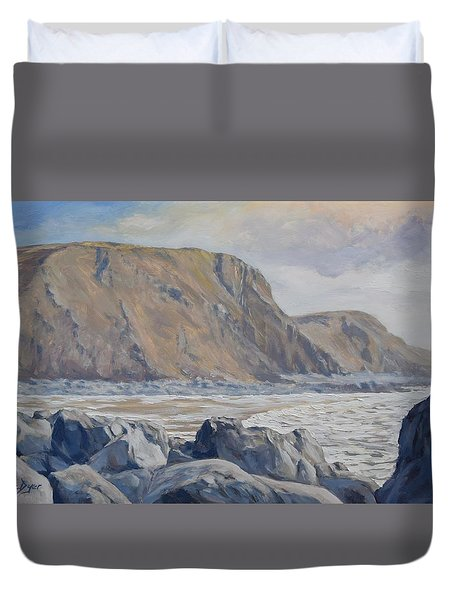 Duvet Cover featuring the painting Duckpool Boulders by Lawrence Dyer