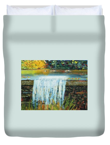Ducks And Waterfall Duvet Cover