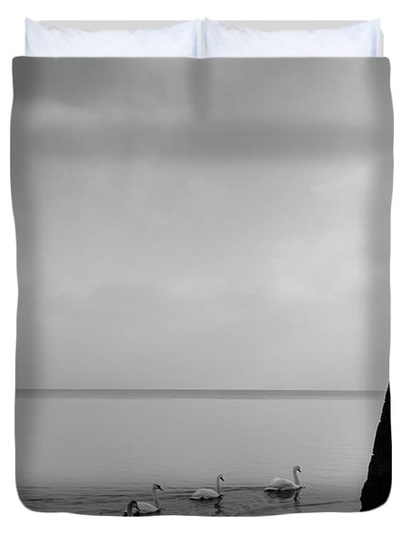 Ducks In Lake Garda, Italy Duvet Cover