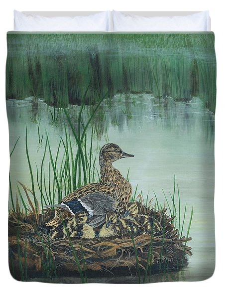 Ducks In Lifting Fog Duvet Cover