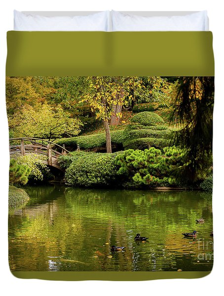Duvet Cover featuring the photograph Ducks In Summertime by Iris Greenwell