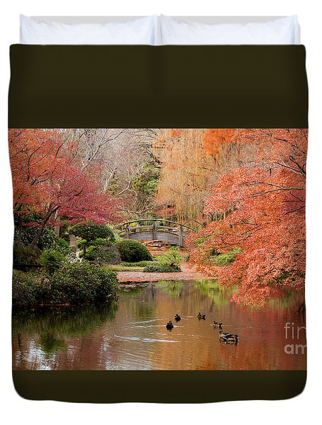 Ducks In The Pond Duvet Cover by Iris Greenwell