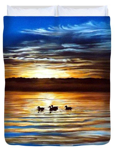 Ducks On Clear Lake Duvet Cover