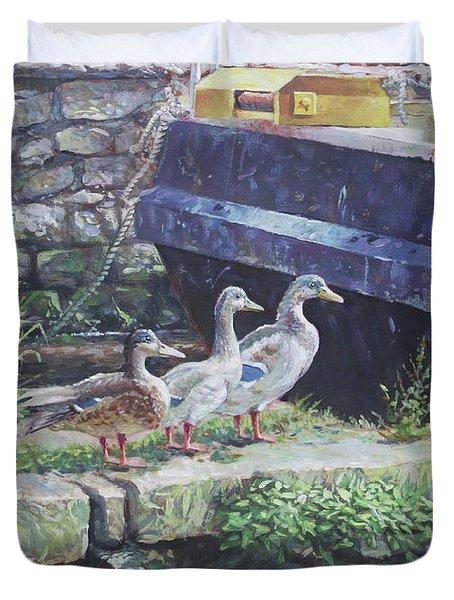 Ducks On Dockside Duvet Cover