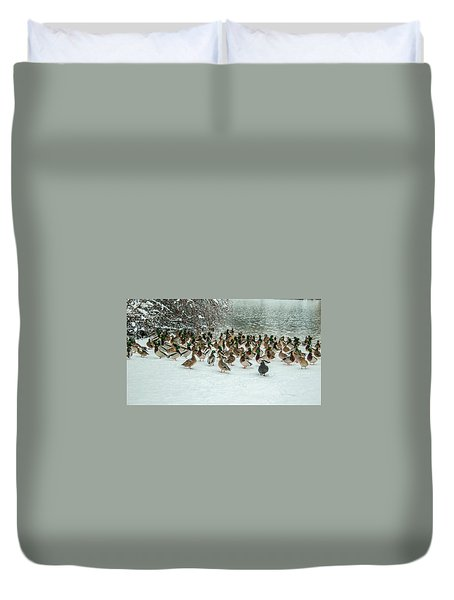 Ducks Pond In Winter Duvet Cover