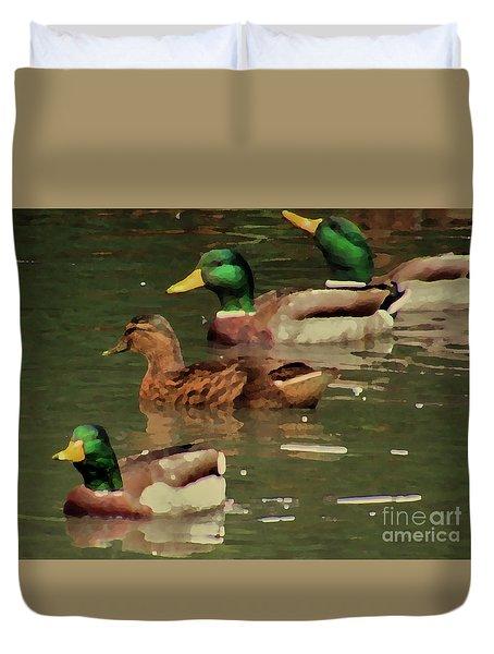 Ducks Race Duvet Cover by Kim Tran
