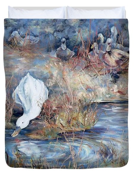 Ducks. Split Opposite Colour Harmony.  Duvet Cover