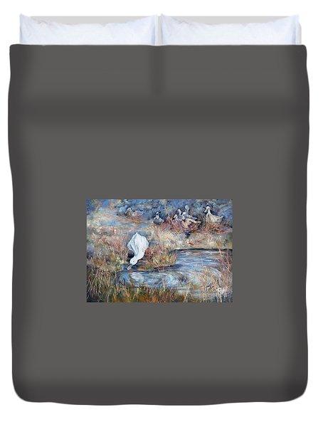 Ducks. Split Opposite Colour Harmony.  Duvet Cover