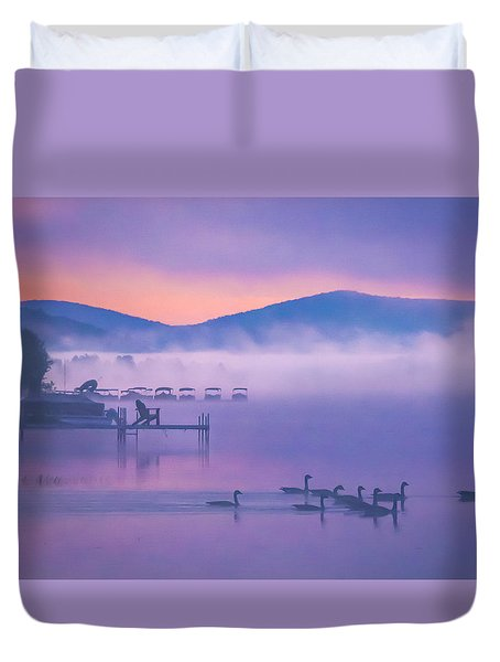 Ducks Under Fog Duvet Cover