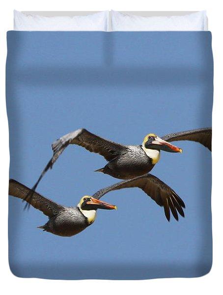 Duel Pelicans In Flight Duvet Cover