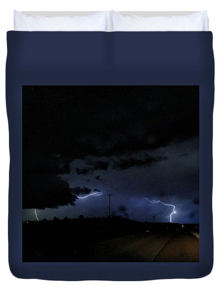 Dueling Lightning Bolts Duvet Cover