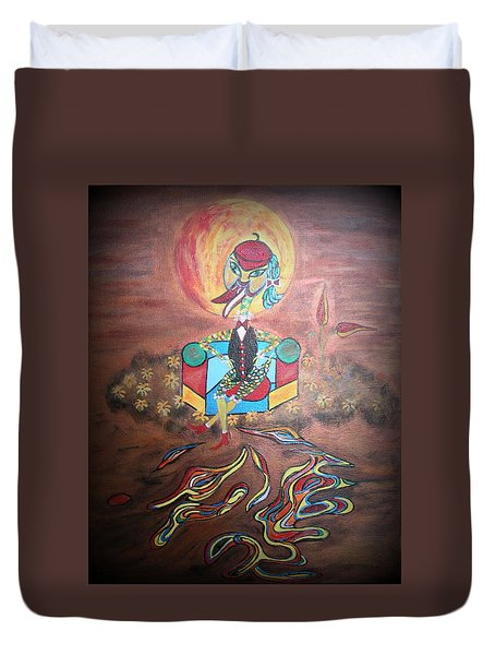 Duke At Sunset Duvet Cover by Marie Schwarzer