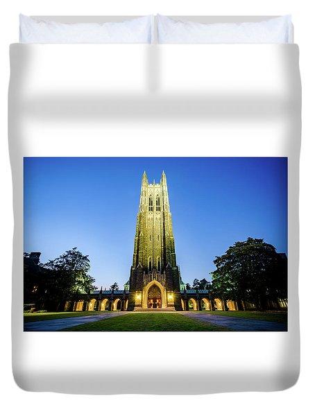 Duke Chapel At Dusk Duvet Cover