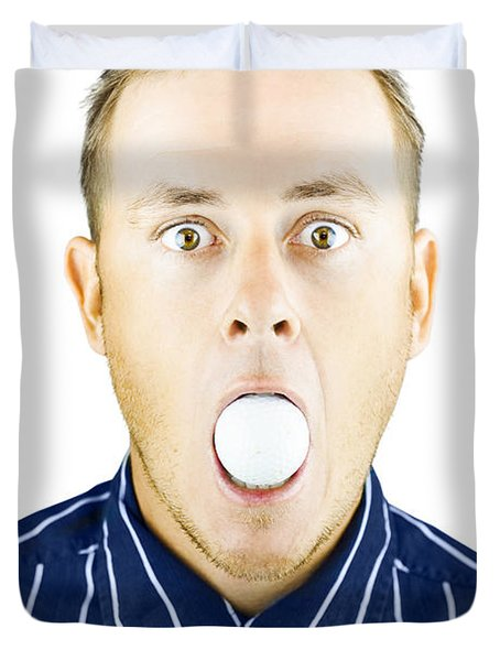 Dumbfounded Man Silenced By A Golf Ball Duvet Cover by Jorgo Photography - Wall Art Gallery