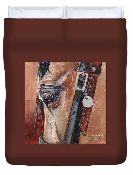 Dun Horse Eye Oil Painting Duvet Cover