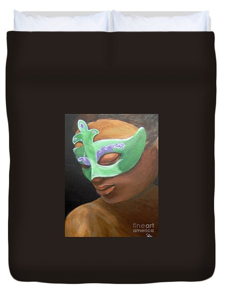 Duvet Cover featuring the painting Dunbar's Mask by Saundra Johnson