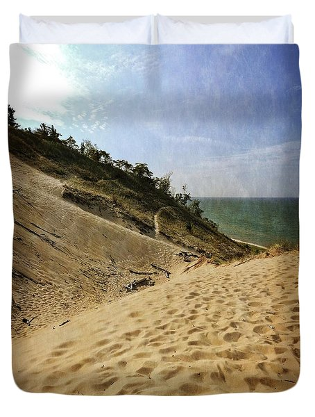Duvet Cover featuring the photograph Dune And Blue Sky 2.0 by Michelle Calkins