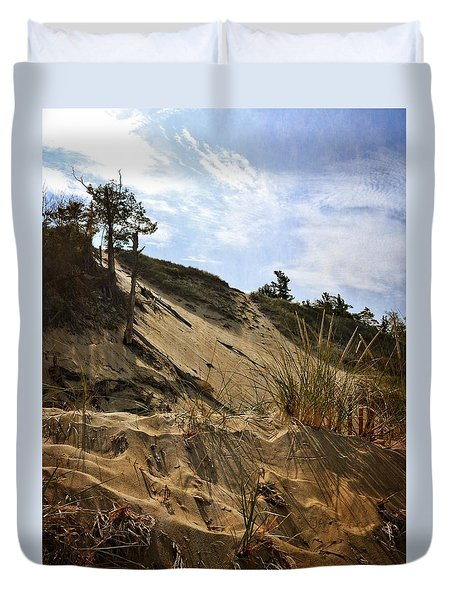 Duvet Cover featuring the photograph Dune And Blue Sky by Michelle Calkins