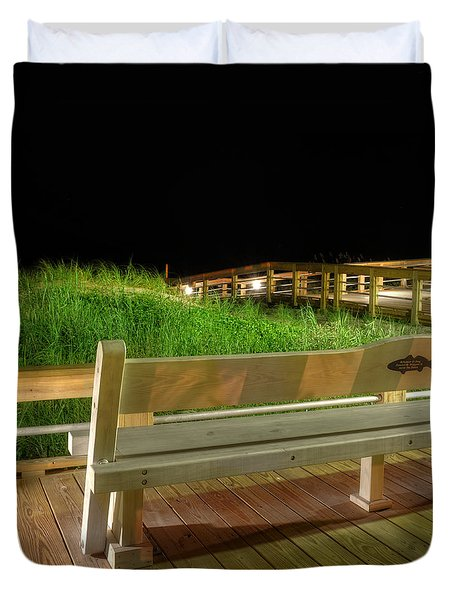 Dune Bench At Night Duvet Cover by Greg Mimbs